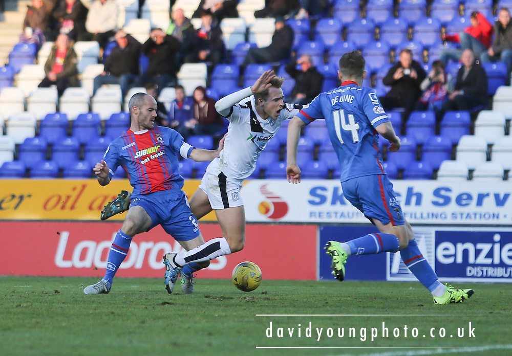 Inverness&rsquo; David Raven downs Dundee&rsquo;s Greg Stewart to concede a penalty - Inverness Caledonian Thistle v Dundee at Caledonian Stadium, Inverness<br /> <br />  - &copy; David Young - www.davidyoungphoto.co.uk - email: davidyoungphoto@gmail.com