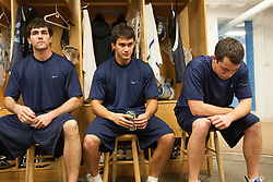 27 November 2007: North Carolina Tar Heels men's lacrosse (L to R) Jamie Debole, Grant Zimmerman and Bobby McAuley during a weight lifting session in Chapel Hill, NC.