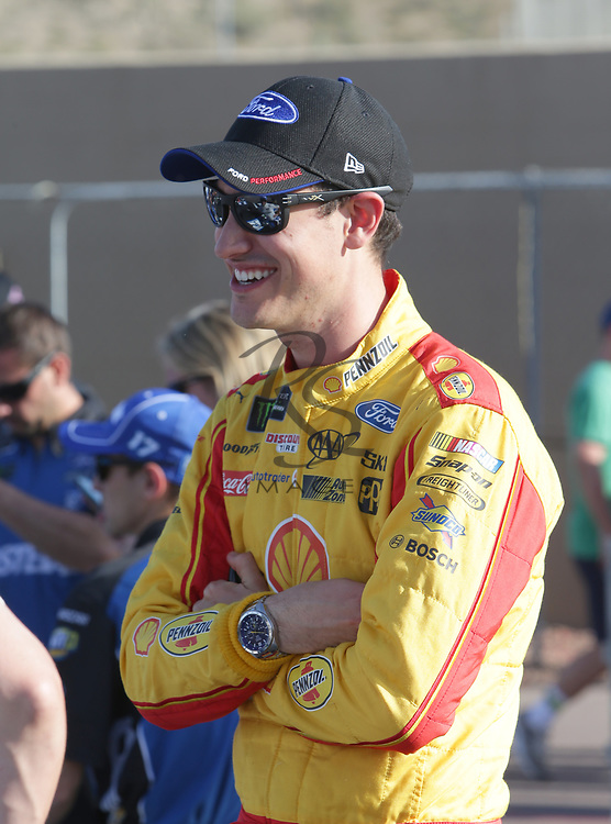 Joey Logano before qualifying for Sunday's NASCAR Cup Series auto race on Friday, March 17, 2017, in Avondale, Ariz.  (AP Photo/Rick Scuteri)