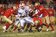 Lafayette High's Hayden Russom (41), Lafayette High's John Murphree (5), and Lafayette High's Cortez Coleman (45) vs. Senatobia in Oxford, Miss. on Friday, October 19, 2012. Lafayette High won 23-7.