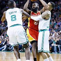 11 January 2013: Boston Celtics shooting guard Courtney Lee (11) and Boston Celtics power forward Jeff Green (8) defend on Houston Rockets shooting guard James Harden (13) during the Boston Celtics 103-91 victory over the Houston Rockets at the TD Garden, Boston, Massachusetts, USA.