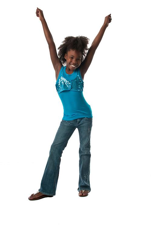 African American girl very happy cheerful.
