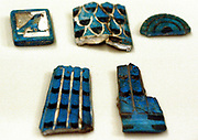 Fragment of a cult vessel with inlays Old Kingdom, 5th Dynastic around, 2490 BC Sycamore, faience, gold leaf.