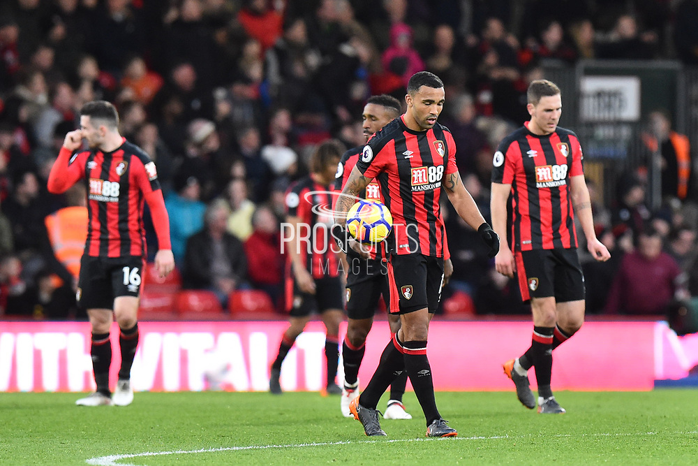 Callum Wilson (13) of AFC Bournemouth and other Bournemouth players look dejected after Totenham score their fourth goal during the Premier League match between Bournemouth and Tottenham Hotspur at the Vitality Stadium, Bournemouth, England on 11 March 2018. Picture by Graham Hunt.