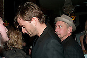 David Tennant; Ian Hart, The afterparty following the press night of 'Speaking In Tongues', at the Jewel Bar, Maiden Lane. Covent Garden. London. September 28, 2009,