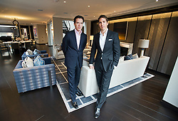 **Home supplement** © Ben Cawthra. 22/01/2013. Property developers from Fichatton, Andrew Dunn and Alex Michelin in a living area of the penthouse apartment at The Lansbury, on Basil Street, London. The Lansbury was recently refurbished in to 6 luxury apartments opposite Harrods in central London. Photo credit: Ben Cawthra.