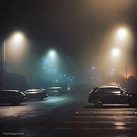 Evening carpark scene with cars and street lights in fog