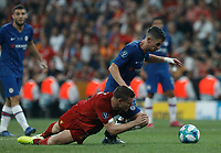 ISTANBUL, TURKEY - AUGUST 14: James Milner (L) of Liverpool and Jorginho of Chelsea vie for the ball during the UEFA Super Cup match between Liverpool and Chelsea at Vodafone Park on August 14, 2019 in Istanbul, Turkey. (Photo by MB Media/Getty Images)