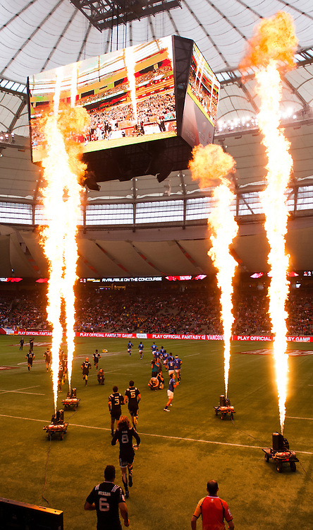 New Zealand and Samoa enter the field of play during the cup quarter final of the 2016 Canada Sevens leg of the HSBC Sevens World Series Series at BC Place in  Vancouver, British Columbia. Sunday March 13, 2016.<br /> <br /> Jack Megaw<br /> <br /> www.jackmegaw.com<br /> <br /> 610.764.3094<br /> jack@jackmegaw.com