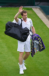 LONDON, ENGLAND - Tuesday, July 3, 2012: Andy Murray (GBR) walks off Court No. 1 after winning his Gentlemem's Singles 4th Round match on day eight of the Wimbledon Lawn Tennis Championships at the All England Lawn Tennis and Croquet Club. (Pic by David Rawcliffe/Propaganda)