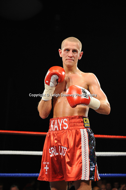 John Kays defeats Ibrar Riyaz in a 6x3 Super Featherweight contest at the Premier Suite, Reebok Stadium, Bolton, UK on 22.10.11. Frank Maloney Promotions. Photo credit: © Leigh Dawney.