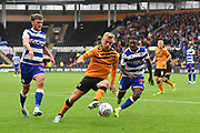 Reading FC player John Swift (10), Reading FC player Omar Richards (27)  and Hull City player Jarrod Bowen (20) during the EFL Sky Bet Championship match between Hull City and Reading at the KCOM Stadium, Kingston upon Hull, England on 10 August 2019.