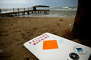 CAMUY, PUERTO RICO - OCTOBER 11, 2017 -  A signs reads peligro or warning at the Pe&ntilde;on de la Cruz beach in Camuy, Puerto Rico where the center of Hurricane Maria exited after causing extensive damage in the island.(Photo/Jos&eacute; Jim&eacute;nez) Through the Iris of Hurricane Mar&iacute;a<br />