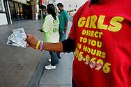 "US-LAS VEGAS: Las Vegas Boulevard (""The Strip"") advertising for callgirls and strippers."