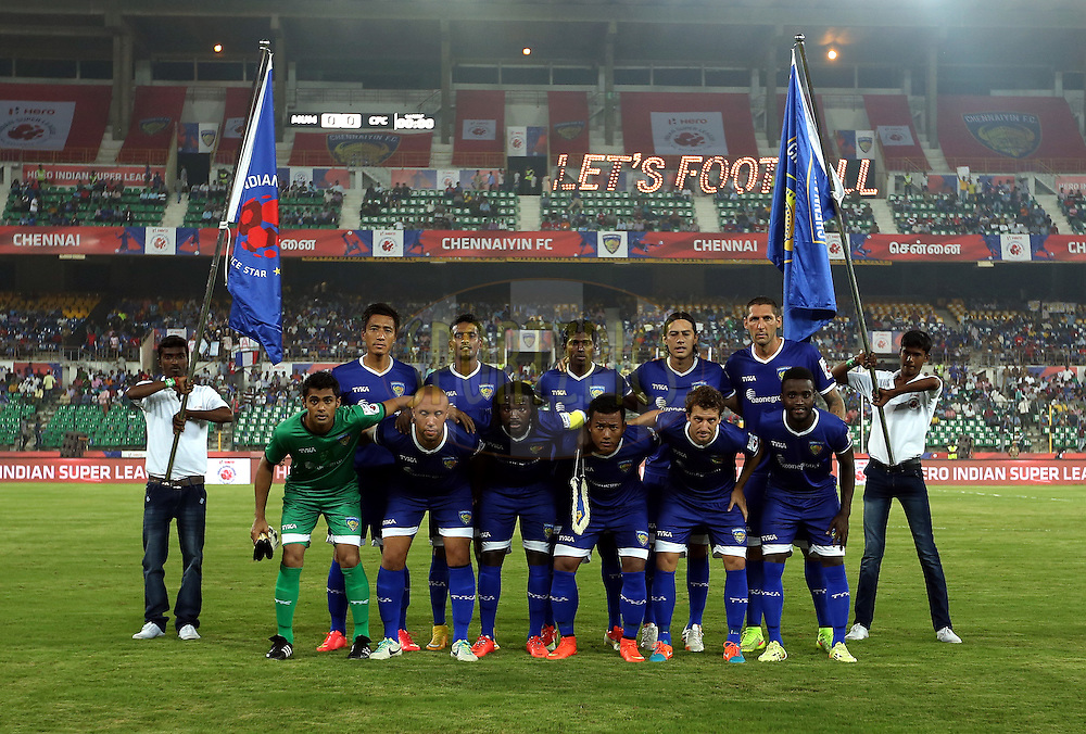 Team Chennaiyin FC pose for the pix during match 15 of the Hero Indian Super League between Chennaiyin FC and Mumbai City FC held at the Jawaharlal Nehru Stadium, Chennai, India on the 28th October 2014.<br /> <br /> Photo by:  Sandeep Shetty/ ISL/ SPORTZPICS