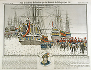Capture of the Dutch fleet, frozen in at Den Helder, by the French Hussars under General Jean-Charles Pichegru (1761-1804) in January 1795.  Engraving.