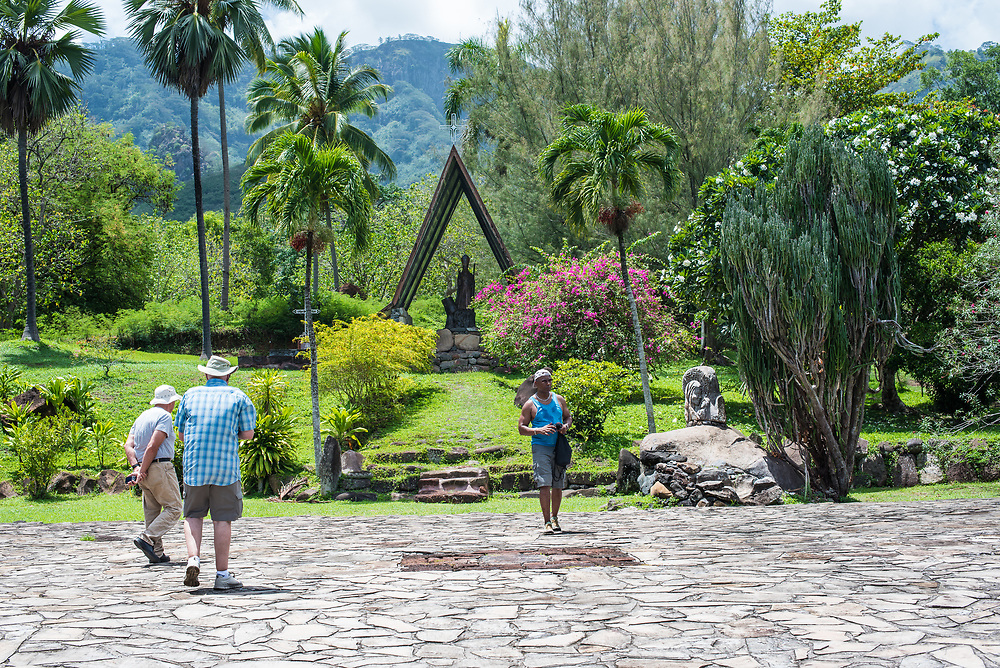 Nuku Hiva, French Polynesia -- March 23, 2018. Tourist visits the grounds of Notre Dame Cathedral  on Nuku Hiva in the South Pacific. Editorial Use Only.