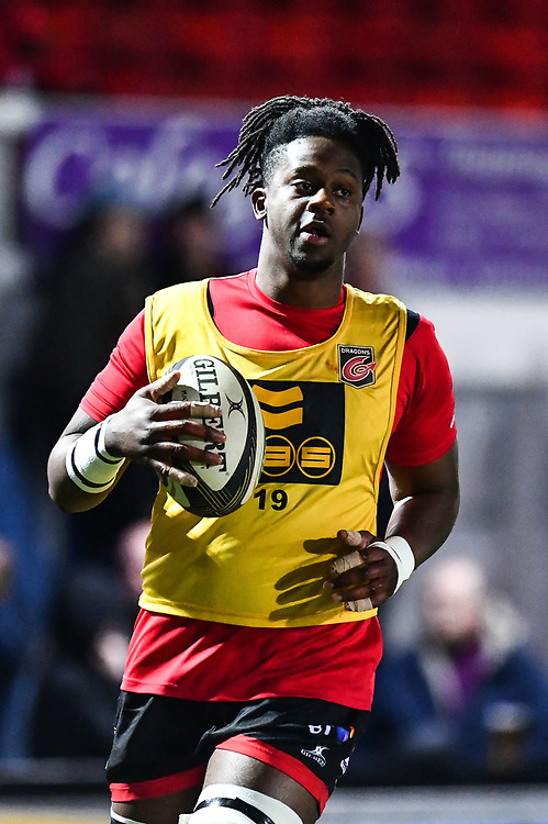 Dragons' Max Williams during the pre match warm up<br /> <br /> Photographer Craig Thomas/Replay Images<br /> <br /> Guinness PRO14 Round 18 - Dragons v Cheetahs - Friday 23rd March 2018 - Rodney Parade - Newport<br /> <br /> World Copyright © Replay Images . All rights reserved. info@replayimages.co.uk - http://replayimages.co.uk