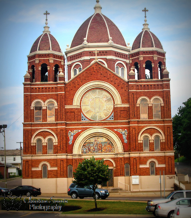 St. Nicholas Catholic Church image for sale, St. Nicholas Catholic Church is an historic Roman Catholic church located at 925 Main Street in Zanesville, Ohio. It was built in 1898 in the Romanesque Revival style of architecture. St. Nicholas Parish is in the Roman Catholic Diocese of Columbus, which was founded in 1842 for the German speaking population of the area. The church operates a consolidated Catholic school with St. Thomas Aquinas Parish in Zanesville. On September 25, 1975, the church building was added to the National Register of Historic Places as St. Nicholas's Catholic Church.