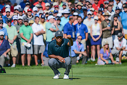 August 9, 2018 - Town And Country, Missouri, U.S - TIGER WOODS from Jupiter Florida, USA lines up his putt on hole number 14 during round one of the 100th PGA Championship on Thursday, August 8, 2018, held at Bellerive Country Club in Town and Country, MO (Photo credit Richard Ulreich / ZUMA Press) (Credit Image: © Richard Ulreich via ZUMA Wire)