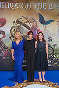 Suzanne and Jennifer Todd (producers L and C) and friend - Alice Through the Looking Glass premiere - a Walt Disney American fantasy adventure film directed by James Bobin, written by Linda Woolverton and produced by Tim Burton. It is based on Through the Looking-Glass by Lewis Carroll and is the sequel to the 2010 film Alice in Wonderland. The film stars Johnny Depp, Anne Hathaway, Mia Wasikowska, Rhys Ifans, Helena Bonham Carter, and Sacha Baron Cohen and features the voices of Alan Rickman, Stephen Fry, Michael Sheen, and Timothy Spall.