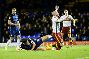 Southend's defender Ryan Leonard brings down Bradford's midfielder Nicky Law to give away a penalty during the EFL Sky Bet League 1 match between Southend United and Bradford City at Roots Hall, Southend, England on 16 December 2017. Photo by Matt Bristow.