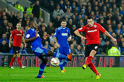 Cardiff Midfielder Don Cowie (SCO) shoots during the second half of the match - Photo mandatory by-line: Rogan Thomson/JMP - Tel: Mobile: 07966 386802 23/10/2012 - SPORT - FOOTBALL - Cardiff City Stadium - Cardiff. Cardiff City v Watford - Football League Championship