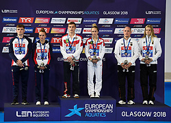 Synchronised 10m Platform Diving Medal ceremony (left to right) Silver medalists Great Britain's Matthew Lee and Lois Toulson, Gold medalists Russia's Nikita Shleikher and Iullia Timoshinina, Bronze medalists Germany's Florian Fandler and Christina Wassen during day ten of the 2018 European Championships at the Royal Commonwealth Pool, Edinburgh. PRESS ASSOCIATION Photo. Picture date: Saturday August 11, 2018. See PA story DIVING European. Photo credit should read: Ian Rutherford/PA Wire. RESTRICTIONS: Editorial use only, no commercial use without prior permission