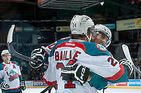 KELOWNA, CANADA -FEBRUARY 8: Nick Merkley #10 and Tyson Baillie #24 of the Kelowna Rockets celebrate a goal against the Victoria Royals on February 8, 2014 at Prospera Place in Kelowna, British Columbia, Canada.   (Photo by Marissa Baecker/Getty Images)  *** Local Caption *** Nick Merkley; Tyson Baillie;