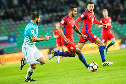 Bojan Jokic of Slovenia and Danny Rose with Dele Alli of England with during football match between National teams of Slovenia and England in Round #3 of FIFA World Cup Russia 2018 qualifications in Group F, on October 11, 2016 in SRC Stozice, Ljubljana, Slovenia. Photo by Grega Valancic / Sportida