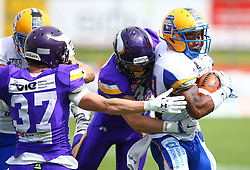 19.06.2016, FAC Stadion, Wien, AUT, AFL, AFC Vienna Vikings vs Projekt Spielberg Graz Giants, im Bild Klaus Geier (Projekt Spielberg Graz Giants, WR, #7), Sebastian Wimmer (Vienna Vikings), Luis Horvath (Vienna Vikings) und Clint Floyd (Projekt Spielberg Graz Giants, DB, #19) // during the AFL game between AFC Vienna Vikings vs Projekt Spielberg Graz Giants at the FAC Stadion, Vienna, Austria on 2016/06/19. EXPA Pictures © 2016, PhotoCredit: EXPA/ Thomas Haumer