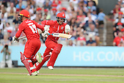 Lancashires Alex Davies & Lancashires Karl Brown during the Vitality T20 Blast North Group match between Lancashire Lightning and Leicestershire Foxes at the Emirates, Old Trafford, Manchester, United Kingdom on 3 August 2018. Picture by George Franks.