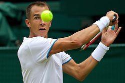 LONDON, ENGLAND - Thursday, June 26, 2014: Lukas Rosol (CZE) during the Gentlemen's Singles 2nd Round match on day four of the Wimbledon Lawn Tennis Championships at the All England Lawn Tennis and Croquet Club. (Pic by David Rawcliffe/Propaganda)