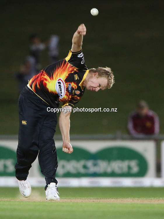 Wellington's Scott Kuggeleijn bowls  in the HRV Cup T20 cricket match between the Central Districts Stags and the Wellington Firebirds at McLean Park, Napier, New Zealand. Friday, 07 December, 2012. Photo: John Cowpland / photosport.co.nz