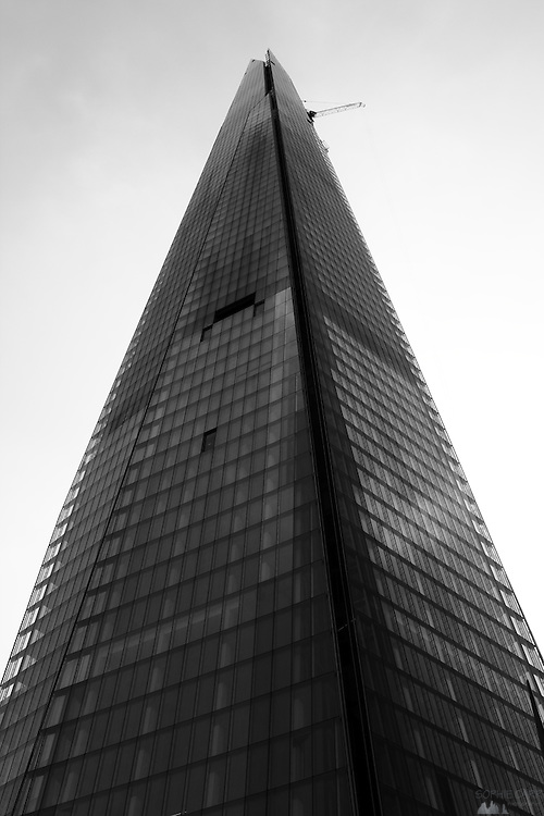 Black & white image of the newly-built Shard Building, at London Bridge in London