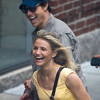 "(09/23/09-Boston,MA) Cameron Diaz and Tom Cruise film a scene from ""Wichita"" outside of Boston's restaurant ""Gaslight"" on Union Park Street. photo by Mark Garfinkel"