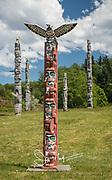 Totem poles at the Namgis Burial ground in Alert Bay, British Columbia, Canada.