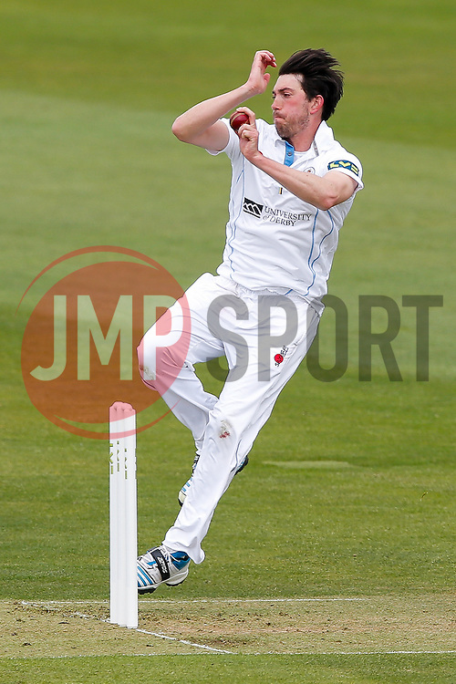 Mark Footitt of Derbyshire bowls - Photo mandatory by-line: Rogan Thomson/JMP - 07966 386802 - 26/04/2015 - SPORT - CRICKET - Bristol, England - Bristol County Ground - Gloucestershire v Derbyshire — Day 1 - LV= County Championship Division Two.