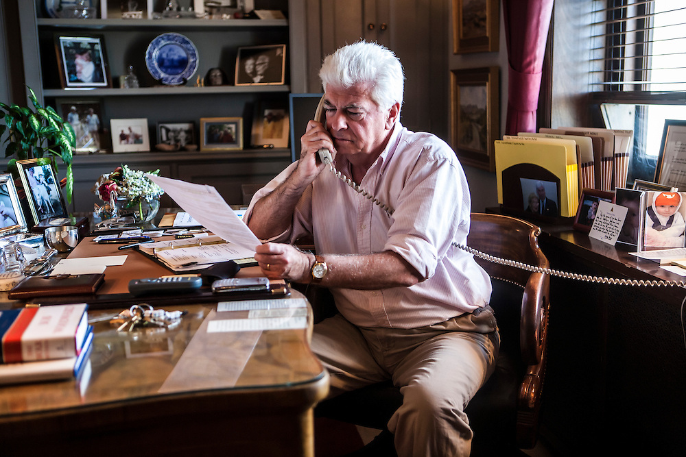 Sen. Chris Dodd (D-CT), chairman of the Senate Banking Committee, talks on the phone in his office on Capitol Hill on Sunday, September 21, 2008 in Washington, DC. Brendan Hoffman for the New York Times