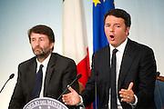 Rome sep 18th 2015, cabinet meeting press conference. In the picture Dario Franceschini, Matteo Renzi