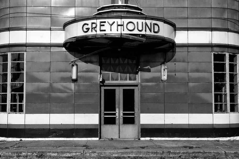 Greyhound bus station in Blytheville, Arkansas.