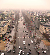 Champs Elysees view from the top of the Arc de Triomphe in Paris