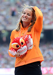 29-08-2015 CHN: IAAF World Championships Athletics day 7, Beijing<br /> Dafne Schippers (NED) with gold medal at medal ceremony of 200 m Women Photo by Ronald Hoogendoorn / Sportida