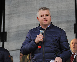 Mayo manager Stephen Rochford at the team&rsquo;s homcoming in McHale park on sunday evening.<br /> Pic Conor McKeown