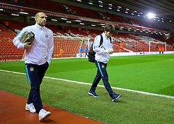 LIVERPOOL, ENGLAND - Wednesday, March 2, 2016: Manchester City's Pablo Zabaleta and David Silva arrives before the Premier League match against Liverpool at Anfield. (Pic by David Rawcliffe/Propaganda)