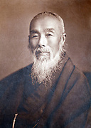 vintage head and shoulders portrait of Japanese monk