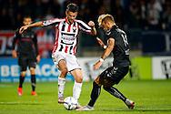 19-09-2015 VOETBAL:WILLEM II- FC UTRECHT:TILBURG<br /> <br /> Erik Falkenburg van Willem II in duel met Timo Letschert van FC Utrecht <br /> <br /> <br /> Foto: Geert van Erven