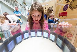Cabinet Secretary for Culture, Tourism and External Affairs, Fiona Hyslop visits one of the highlights of the annual Edinburgh International Science Festival, Play On at the National Museum of Scotland. Play On is a family-friendly, interactive exhibition which is divided into four zones (Game Theory, Make Some Noise, Toy Box and Picture This) and explores how technology influences our leisure time.<br />  <br /> Ms Hyslop met with the Science Festival's Directors, Simon Gage and Amanda Tyndall, as well as the artists and designers behind the Play On.<br /> <br /> Pictured: Eight year old Chloe Illingworth with one of the exhibits at Play On