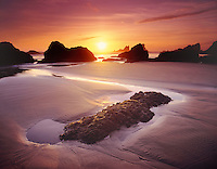 Sunset on Crescent Beach Ecola State Park Oregon USA