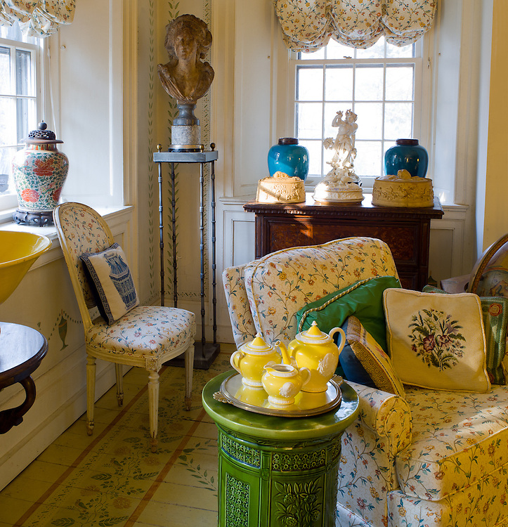 The sitting room or stenciled room.  Private home of retired set designer.  How many patterns can you find?